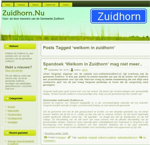 Welkominzuidhornindepers 2010 spandoekgesteggel zuidhorn.nu