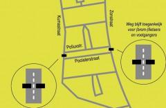 Situatietekening tijdelijke afsluiting zonstraat en kumastraat zuidhorn