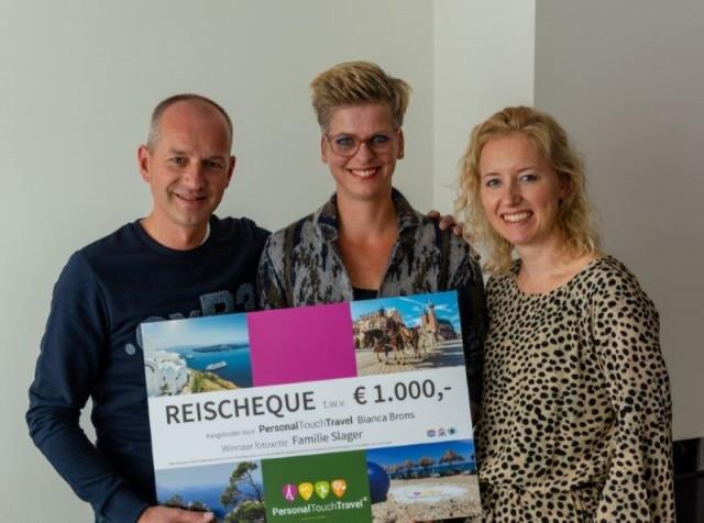 Reischeque twv €1.000,- voor winnaar fotoactie Personal Touch Travel